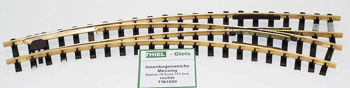 Innenbogenweiche links Messing 45°/30° R.765/1175mm (R2/R3)